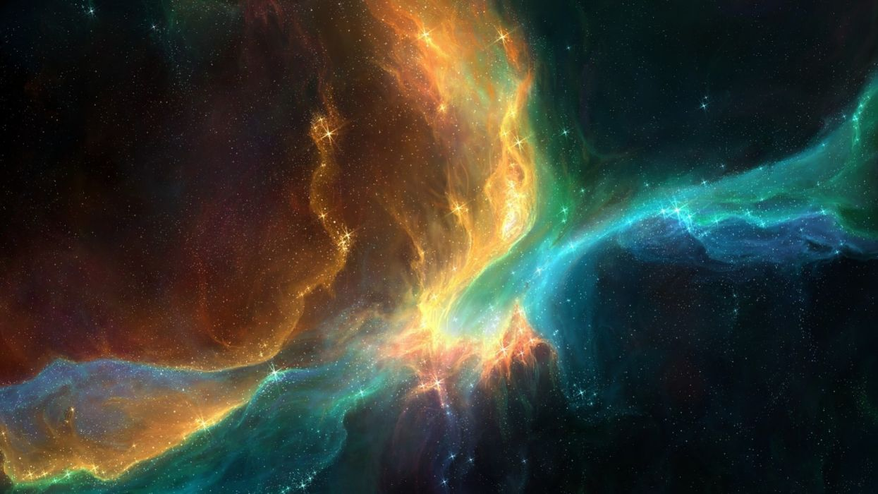 Outer space colorful stars nebulae wallpaper