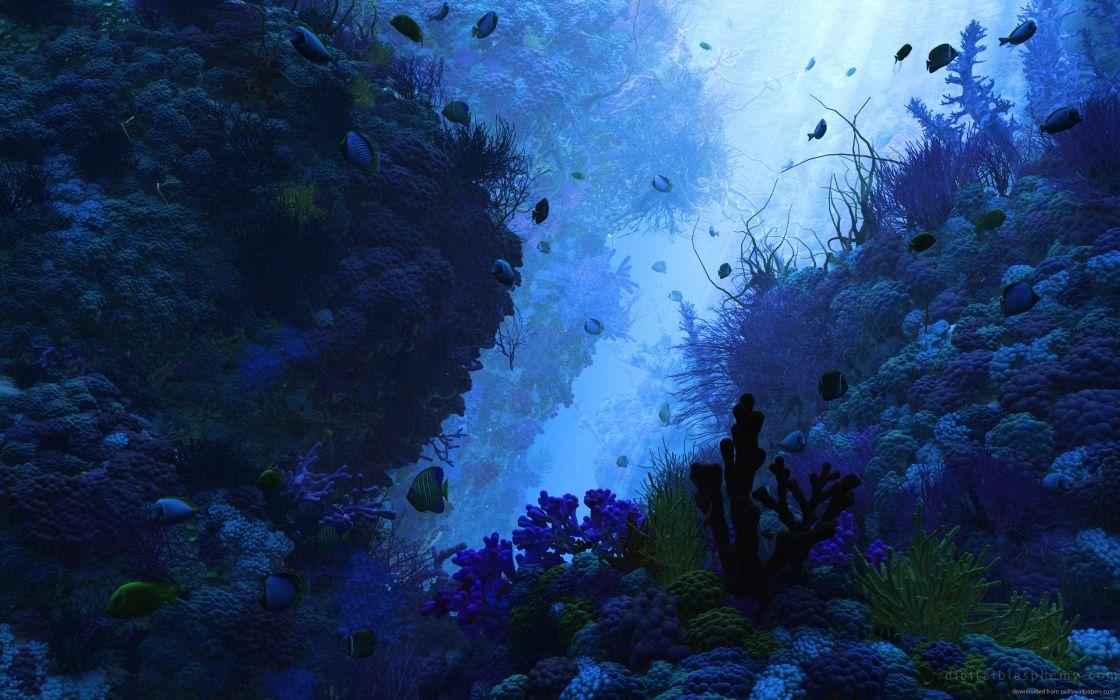 3D underwater rendering wallpaper