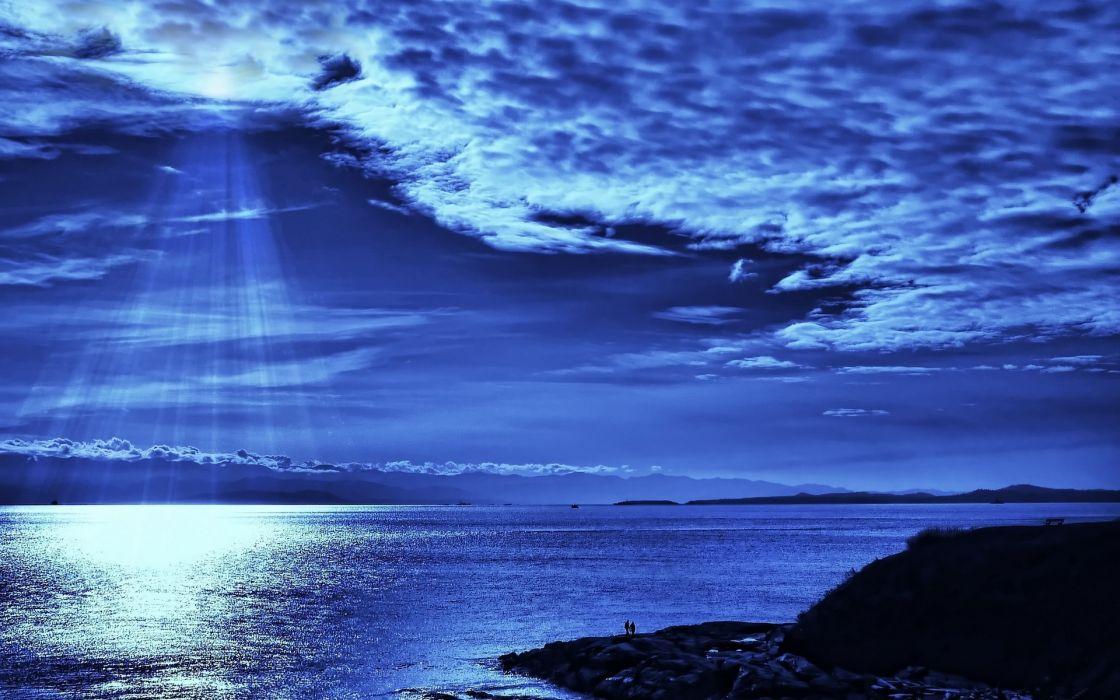 Sea blue light wallpaper