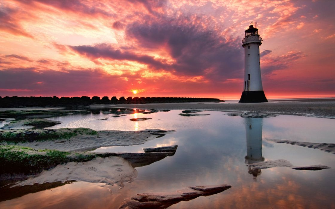 Lighthouse sunset view wallpaper