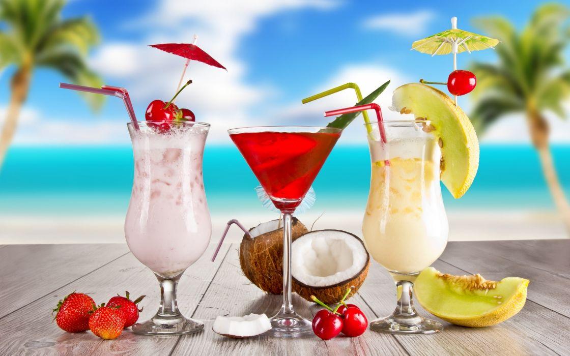 Exotic summer cocktails wallpaper