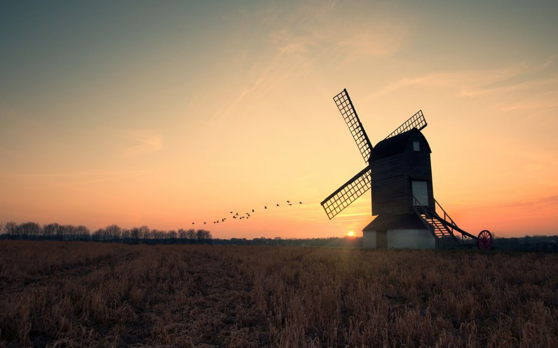 Old wind mill wallpaper