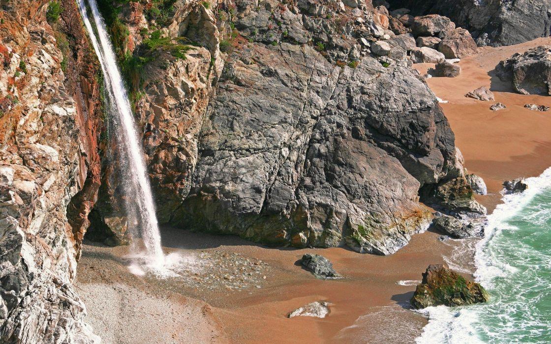 Small waterfall and sea wallpaper