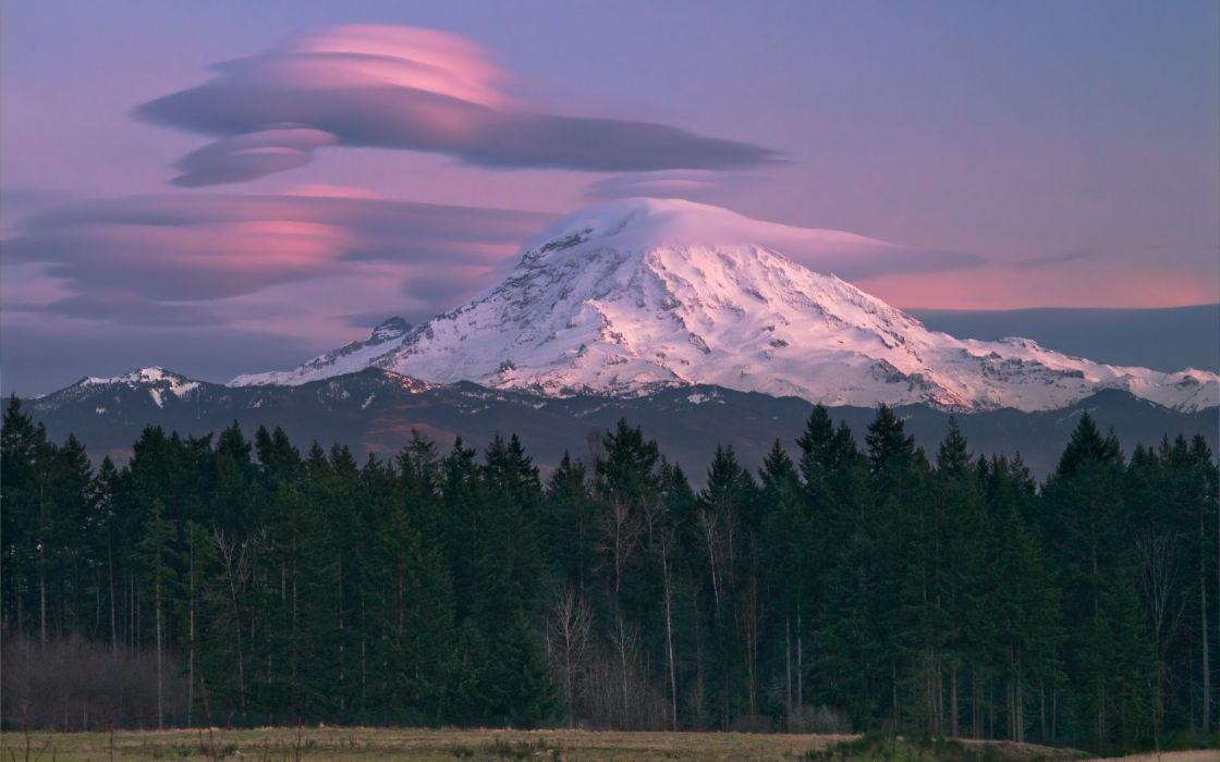 Mt rainier lenticular clouds wallpaper