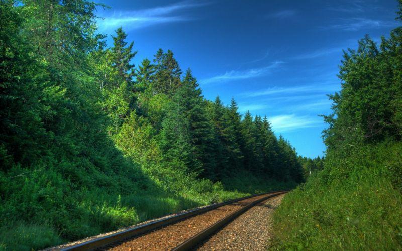 Railway track green nature wallpaper