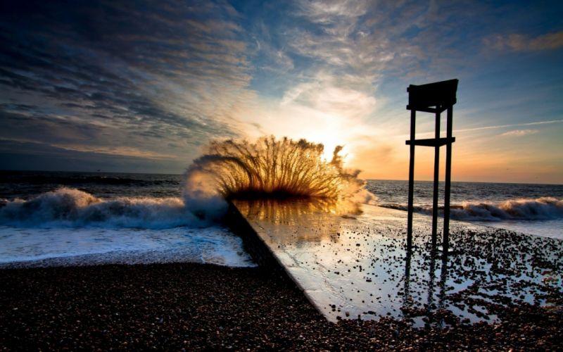 Sunset seaside sea wave wallpaper