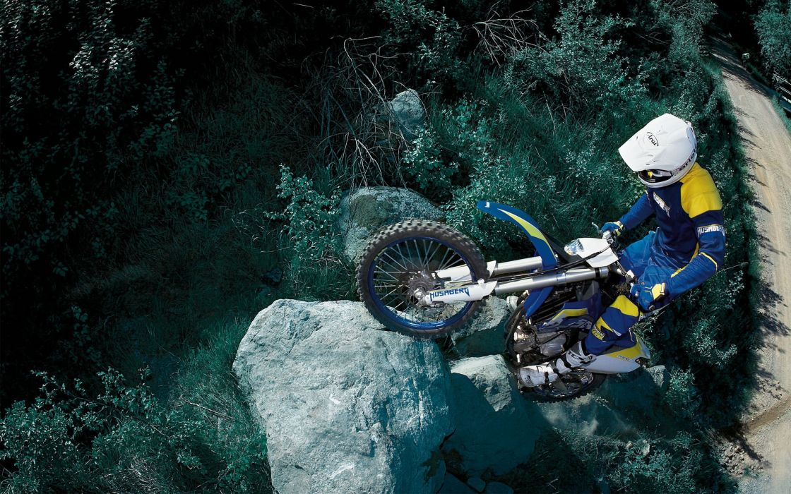 Motorcycle forest race wallpaper