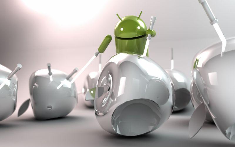Android vs apple wallpaper