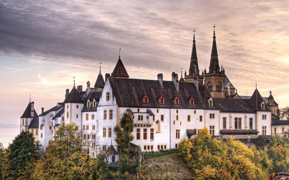 Neuchatel castle switzerland wallpaper