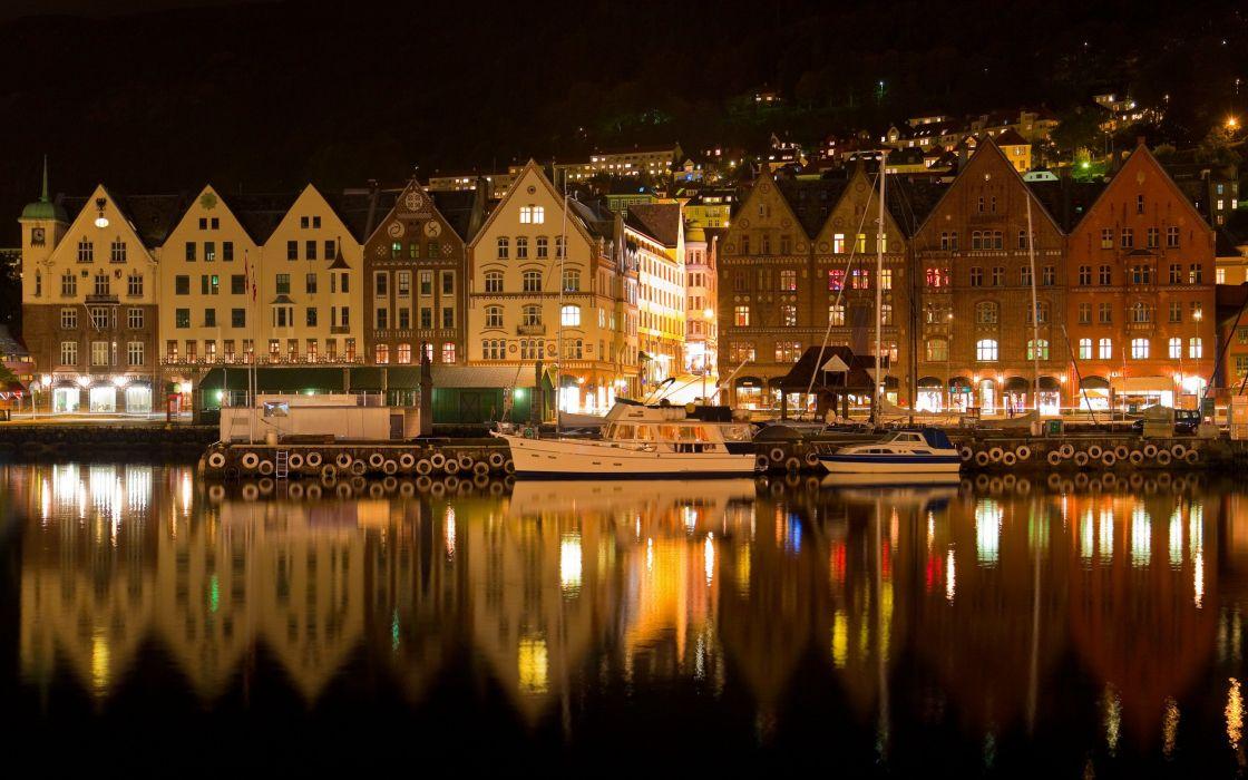 Bergen norway night wallpaper