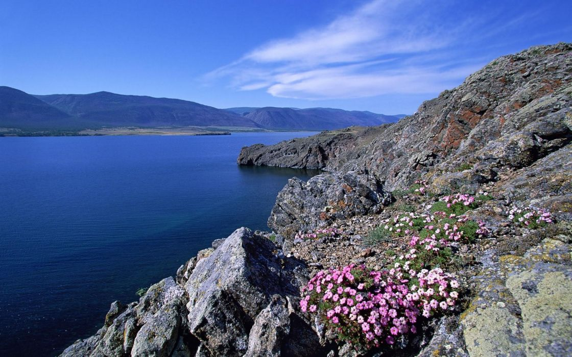 Rocky shoreline barakchin island lake baikal wallpaper