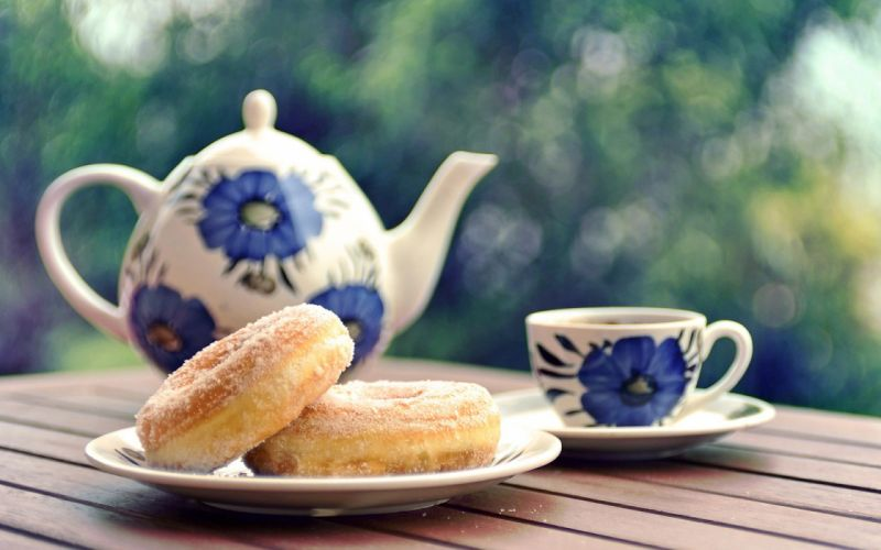Tea and donuts wallpaper