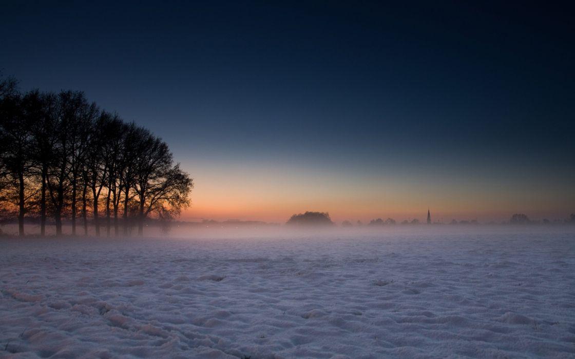 Winter cold landscape wallpaper