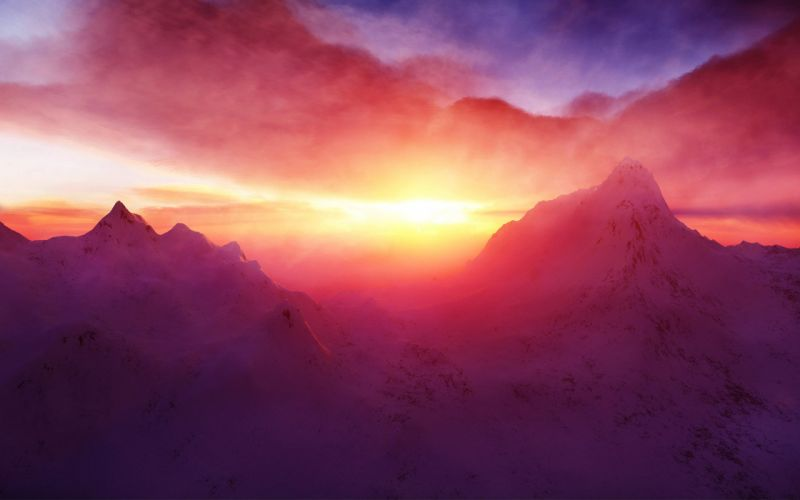 Sunrise in the himalayan mountains wallpaper