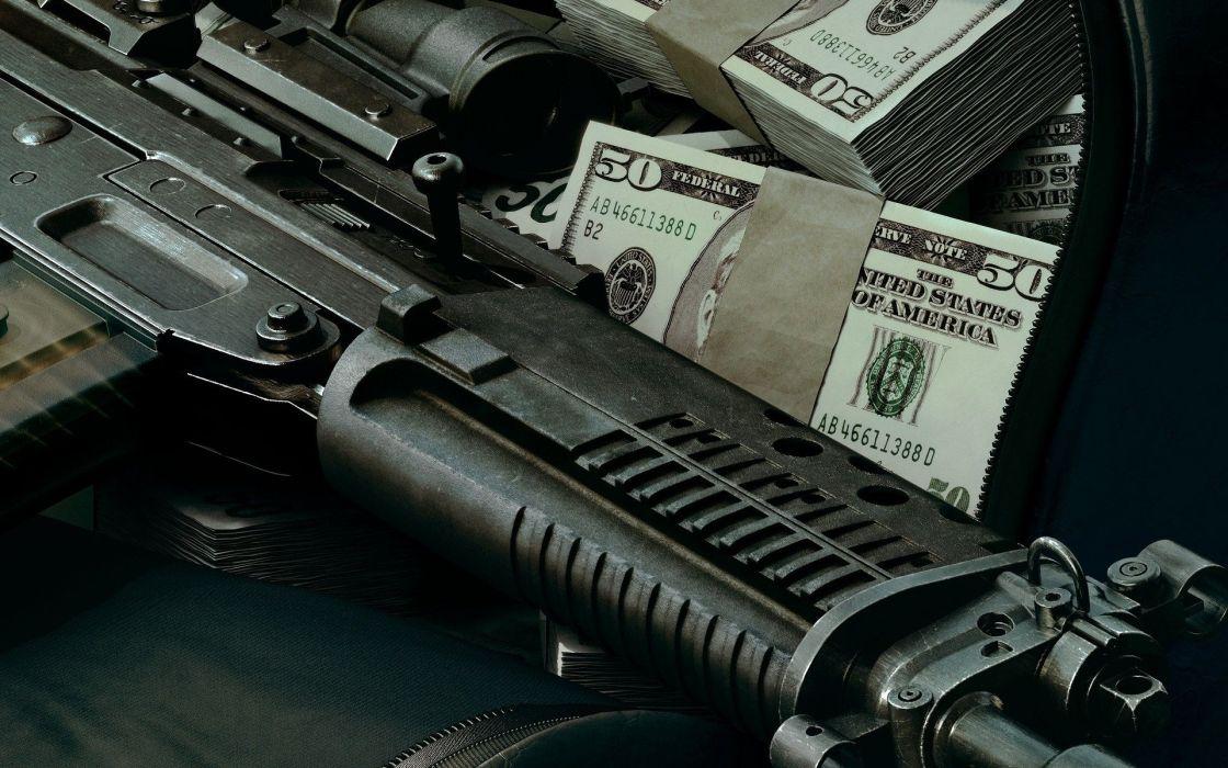 Us dollars and gun wallpaper