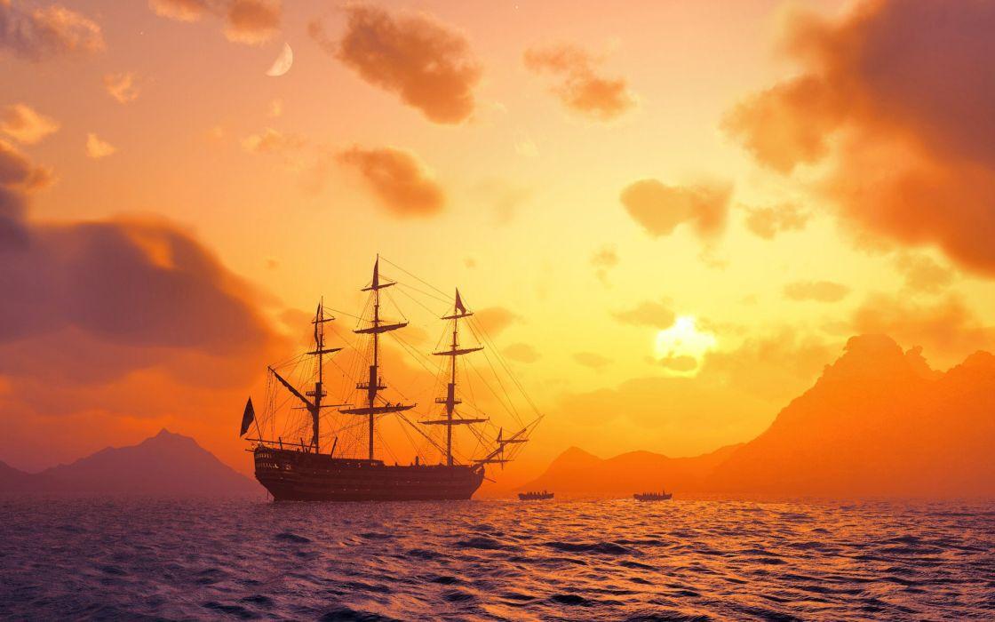 Ship in sea wallpaper