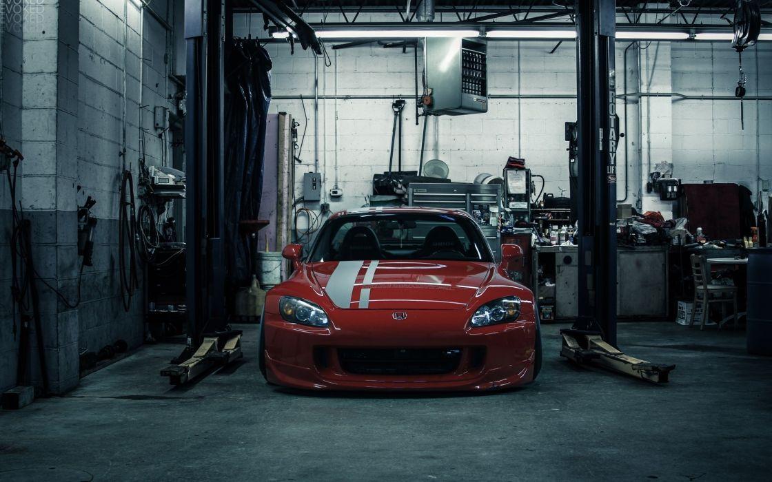 Honda tunning garages red sport cars wallpaper