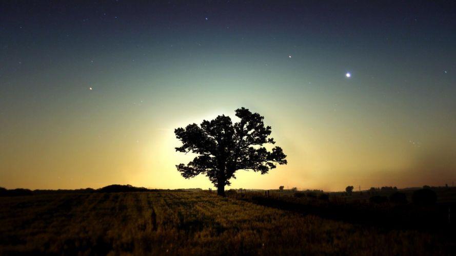 Light sunset nature night stars wallpaper