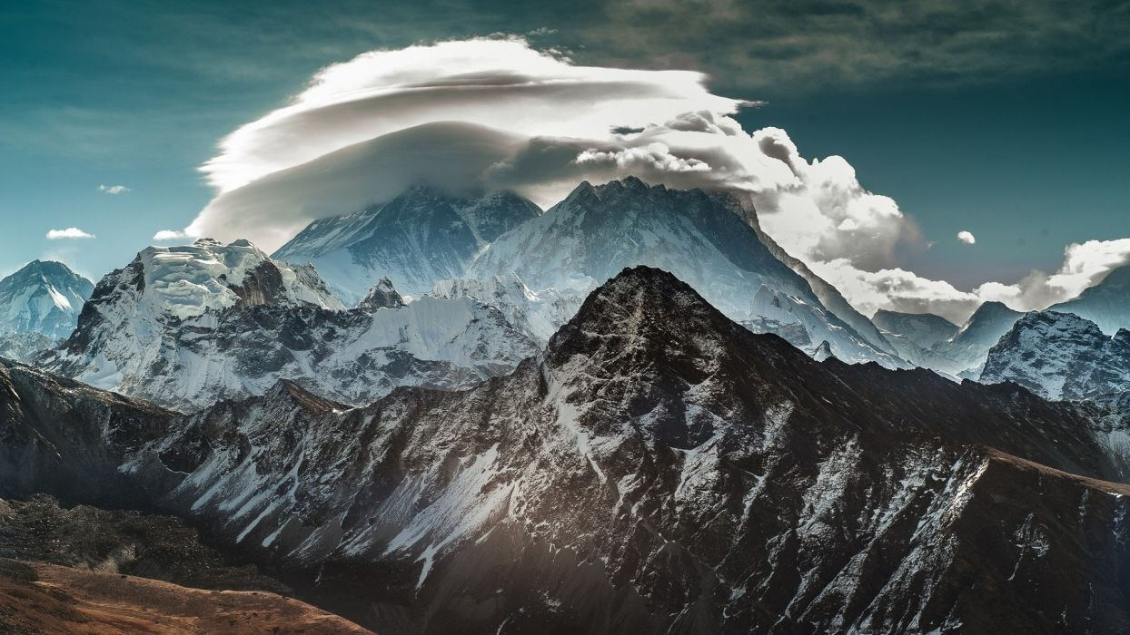 Mountains clouds landscapes wallpaper