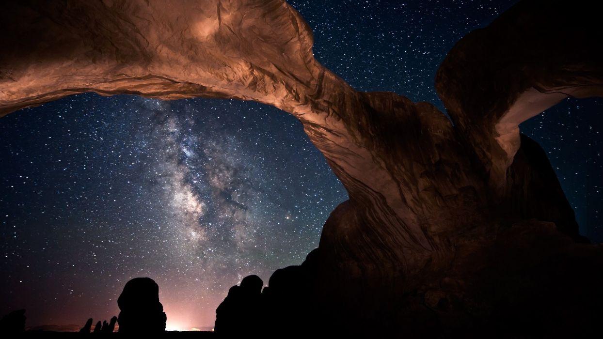 Stars skyscapes desert wallpaper