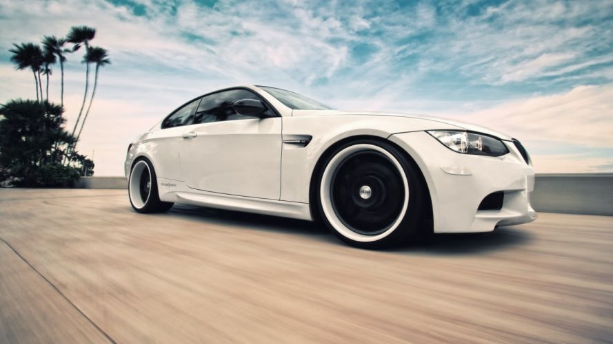 Bmw cars palm trees skyscapes wallpaper