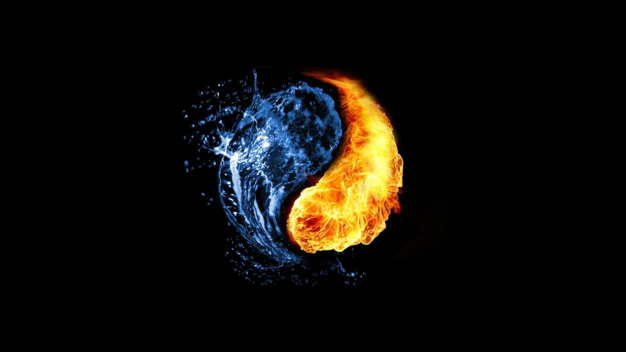 Water abstract fire ying yang black background wallpaper