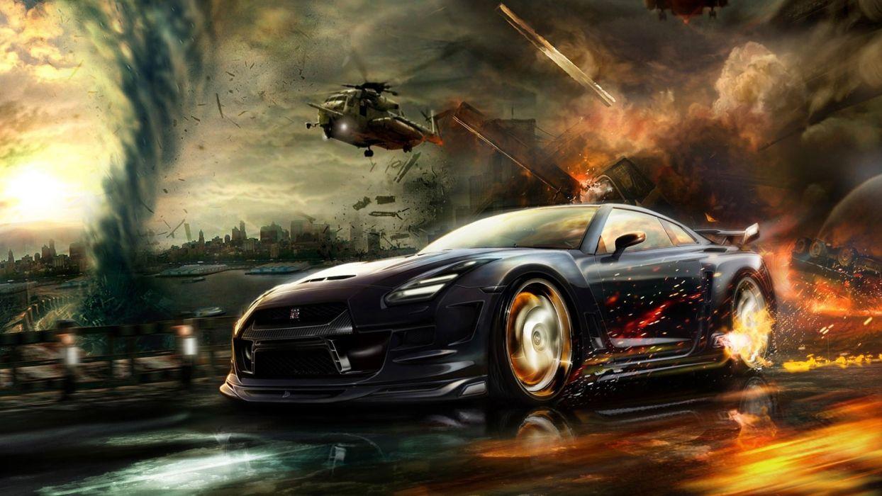 Nisaan gtr race hd wallpaper