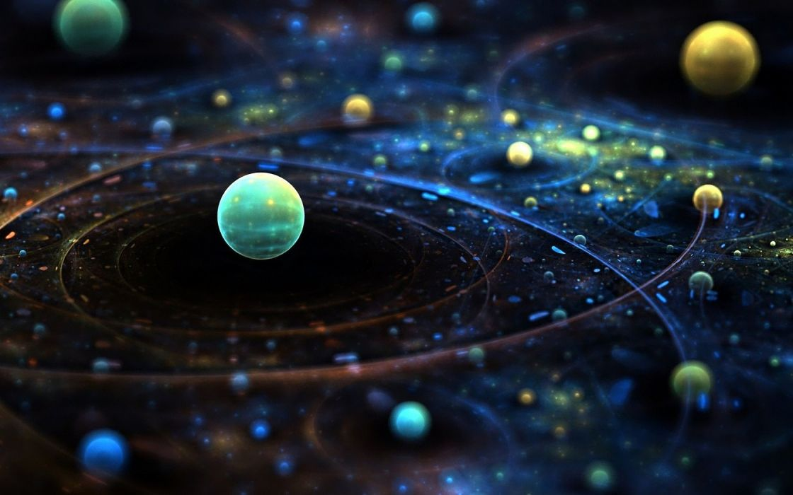 Green abstract outer space galaxies planets orbit wallpaper