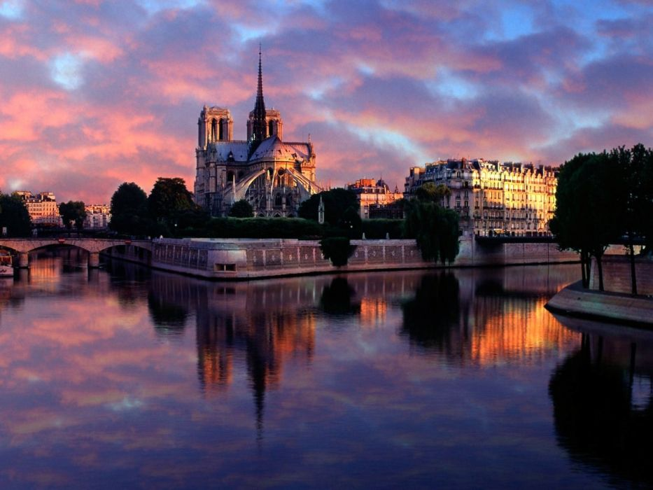 Notre dame at sunrise paris france wallpaper