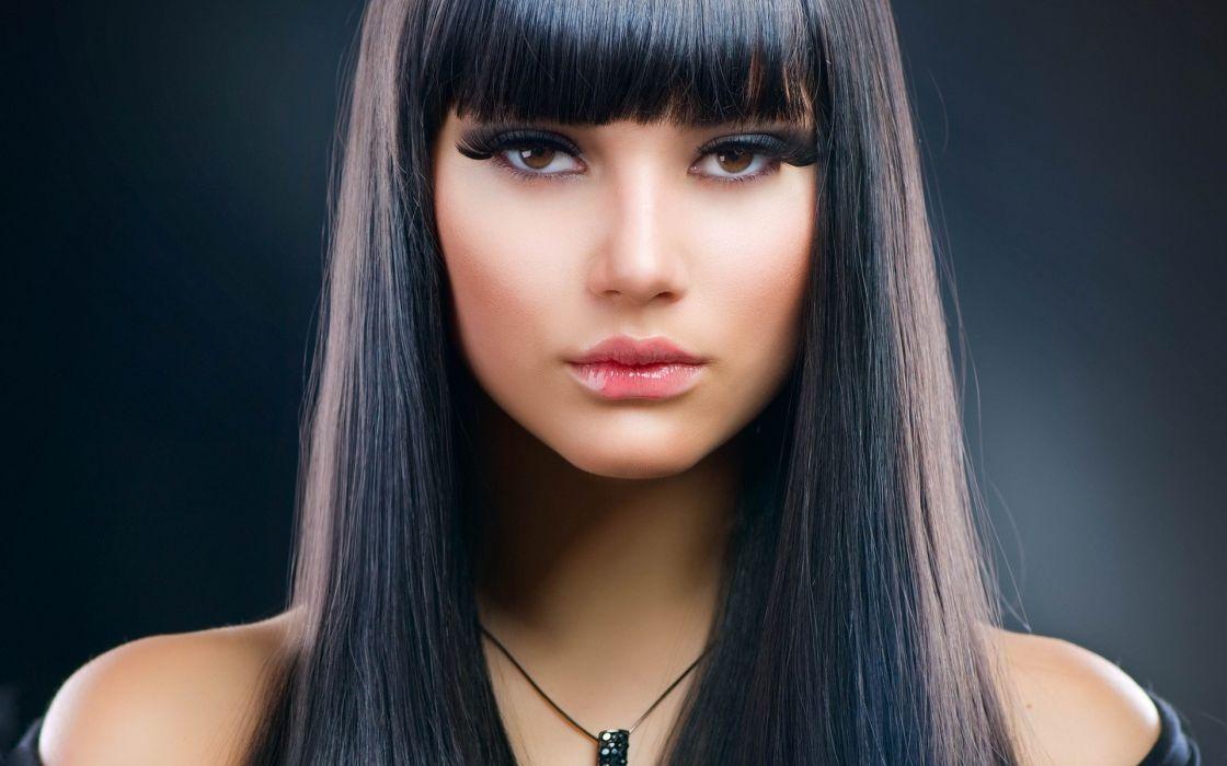 Women lips faces photomanipulations brown eyed girls black hair wallpaper