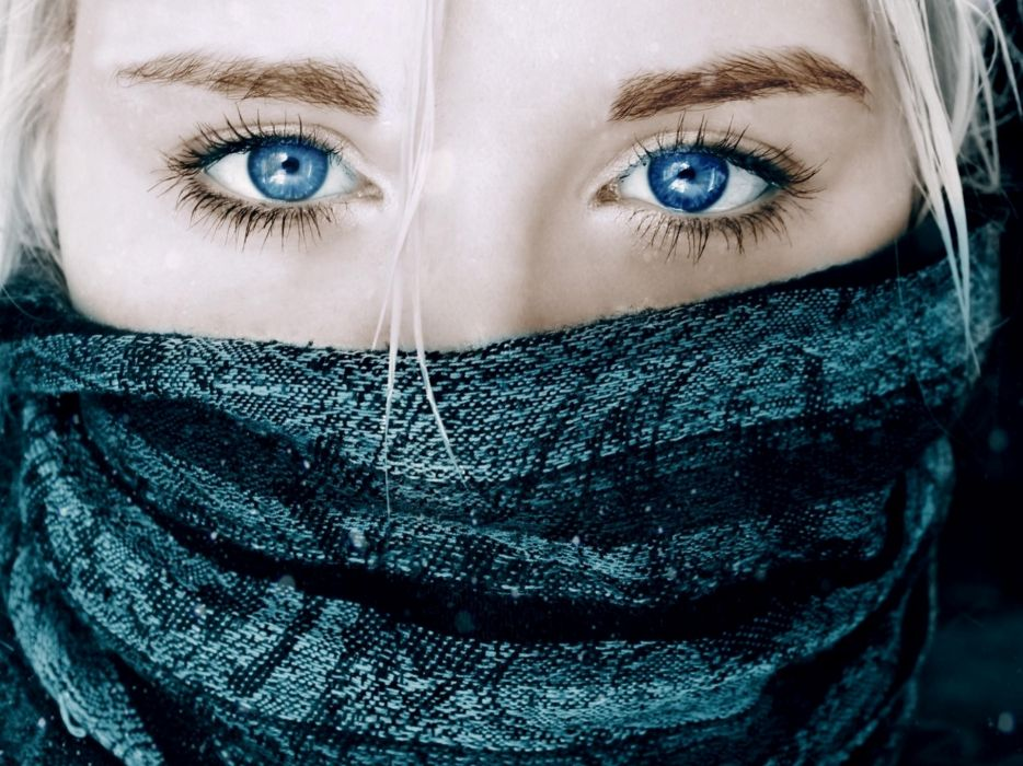 Blondes women eyes blue eyes masks scarf faces wallpaper