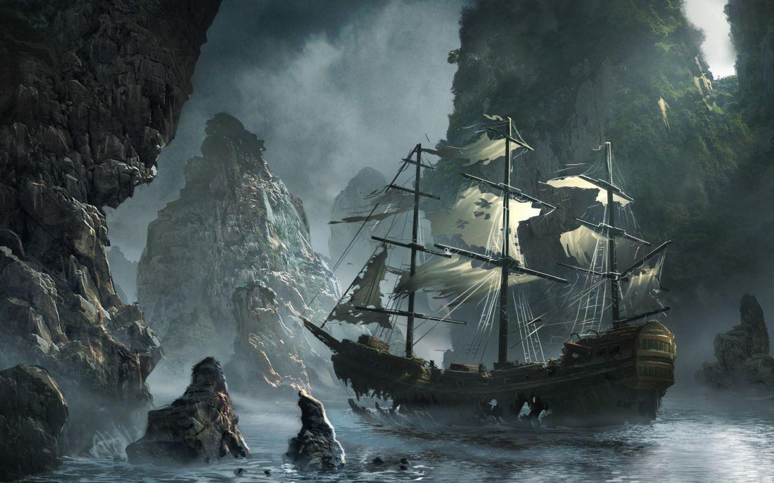 Ships rocks illustrations artwork sail ship abandoned bay sails water body wallpaper