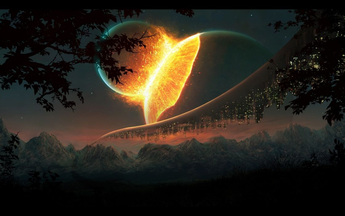 Mountains nature outer space trees stars futuristic buildings collision wallpaper