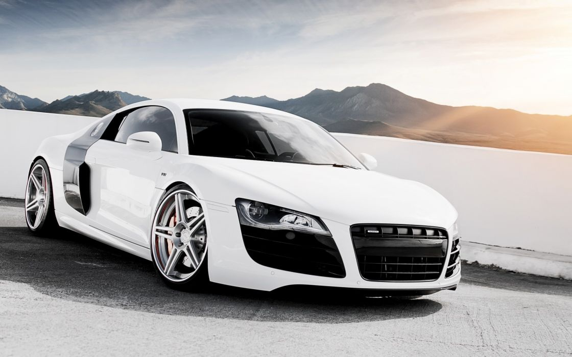 Mountains snow cars supercars skyscapes audi r8 v10 wallpaper