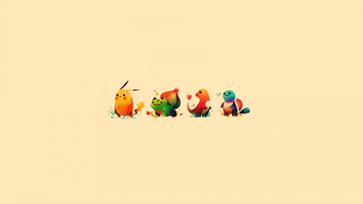 Pokemon minimalistic bulbasaur pikachu squirtle sepia backgrounds charmander starter wallpaper