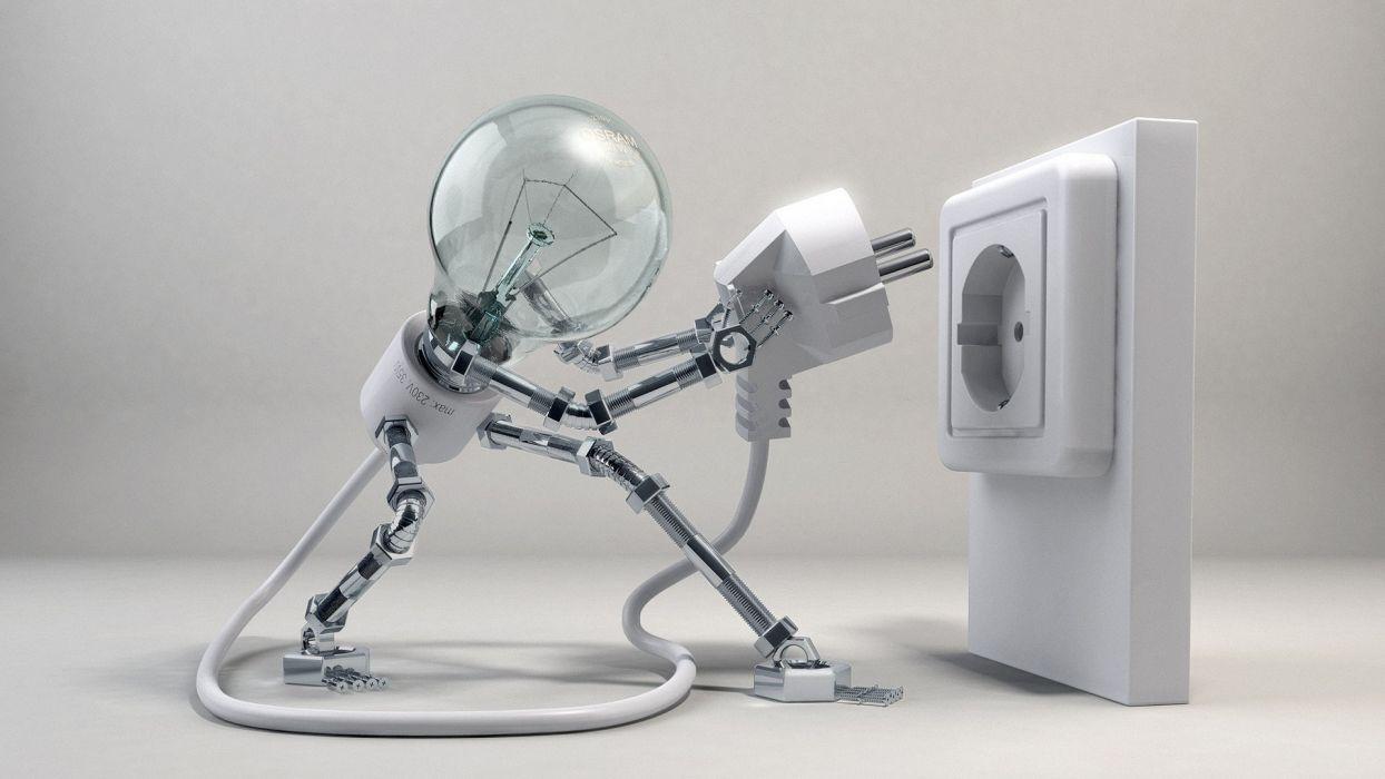 Electricity 3d bulb wallpaper