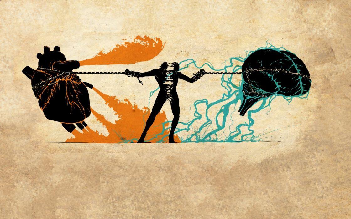 Brain artwork split hearts and mind wallpaper