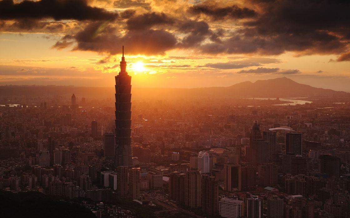 Sunset clouds cityscapes buildings skyscrapers taiwan taipei 101 cities wallpaper