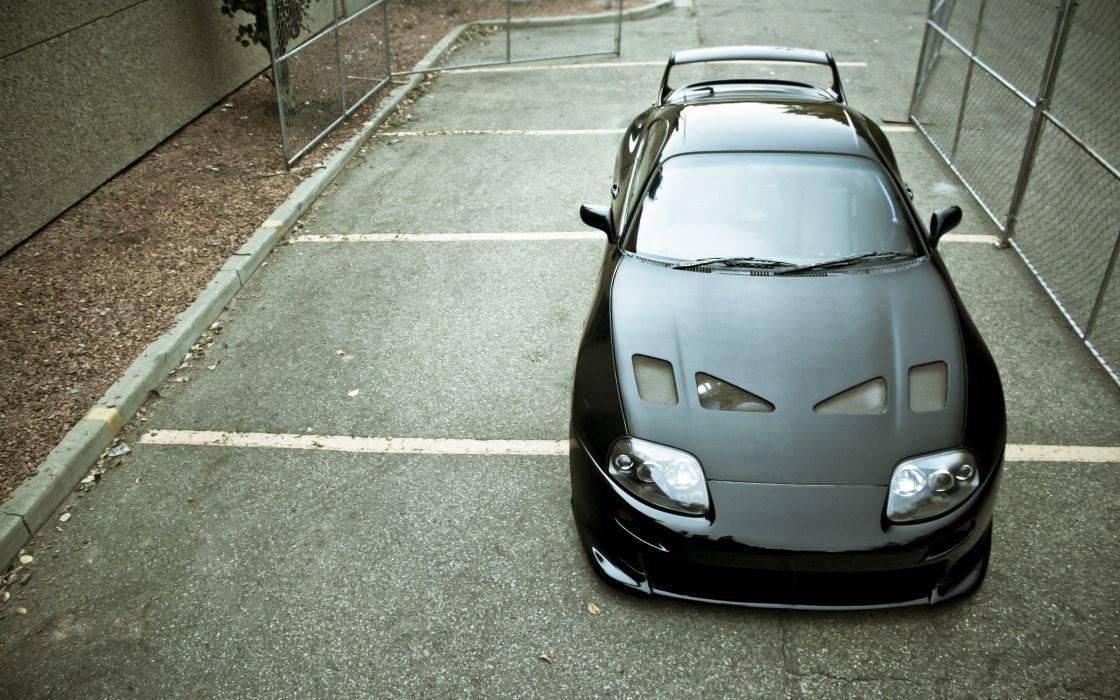 Cars tuning toyota supra in a parking lot wallpaper