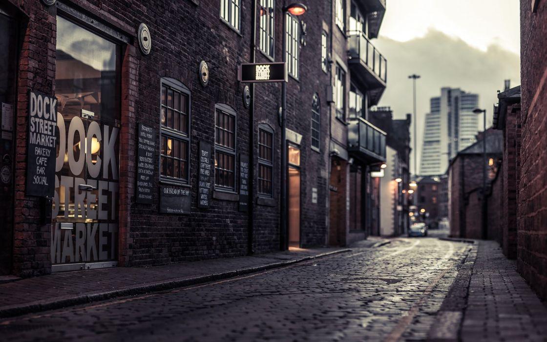 Photography buildings lanterns tilt shift cities street wallpaper