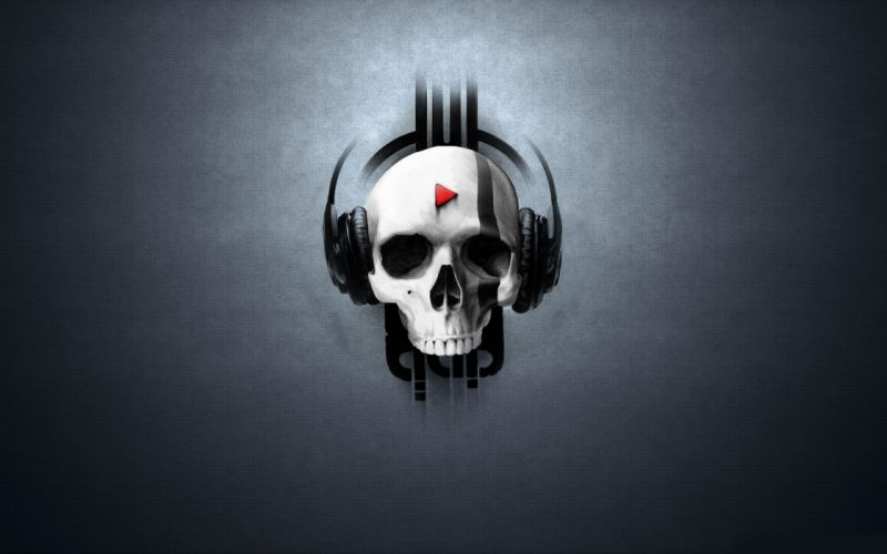 Headphones skulls music artwork wallpaper