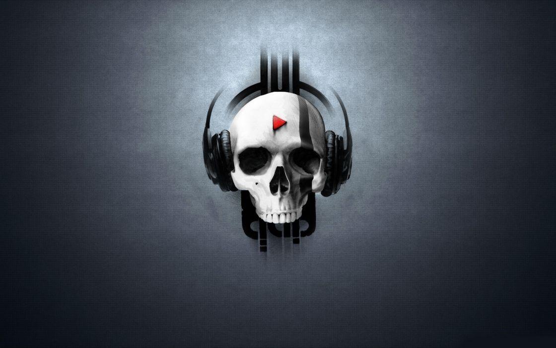 Headphones Skulls Music Artwork Wallpaper 2560x1600 7450