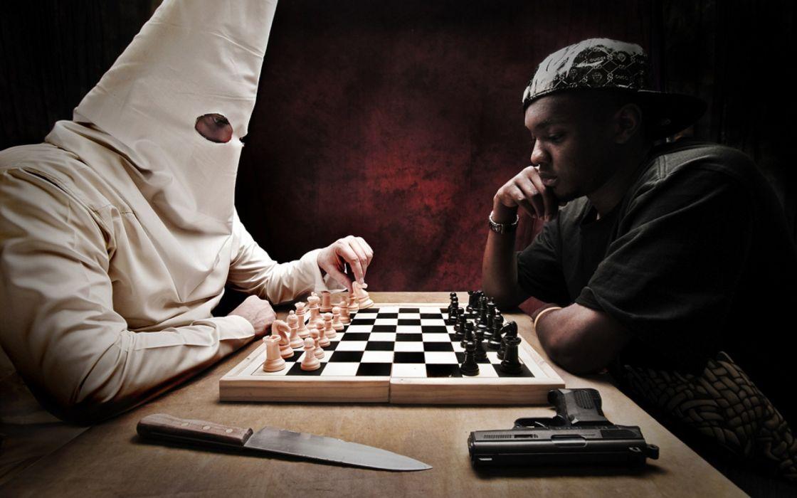 Black people chess knives handguns objects ku klux klan wallpaper