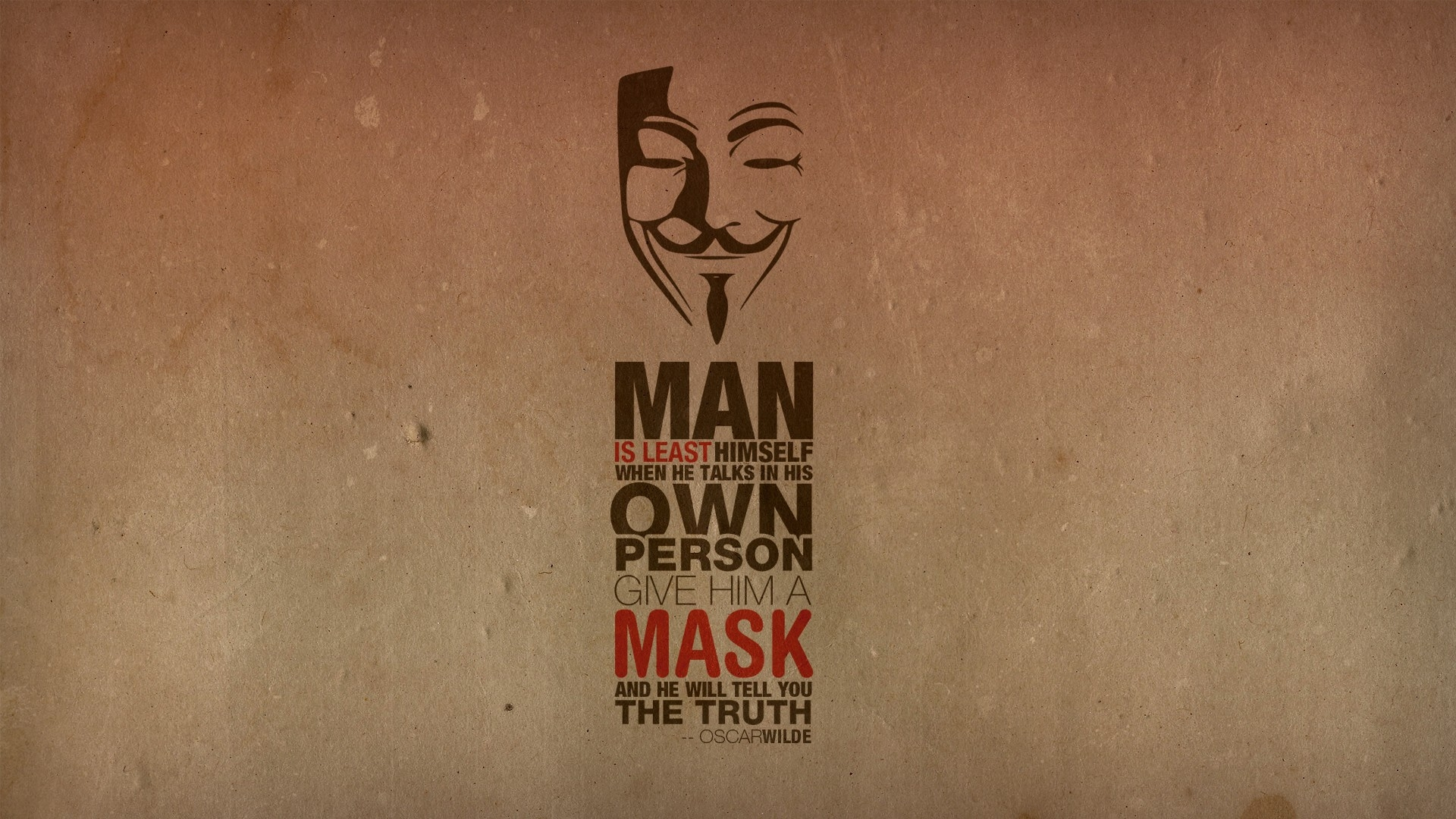 Anonymous Quotes Anonymous Minimalistic Text Quotes Typography Masks Oscar Wilde