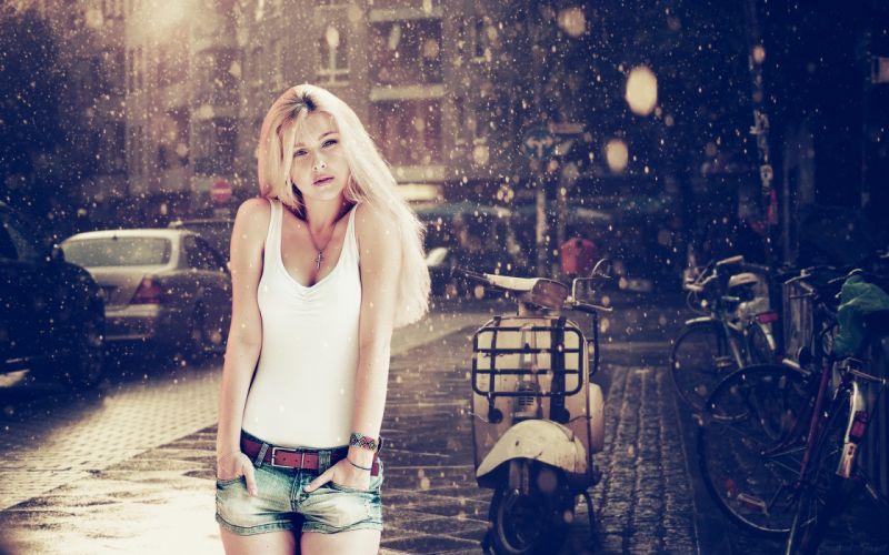 Blondes women snow eyes lips t shirts faces denim shorts denim skirts wallpaper