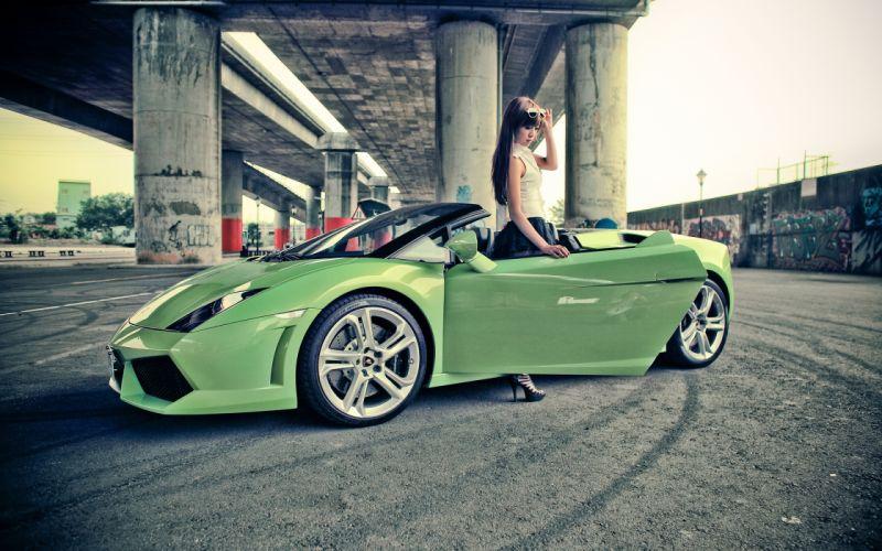 Sexy girl with a light green lamborghini gallardo wallpaper