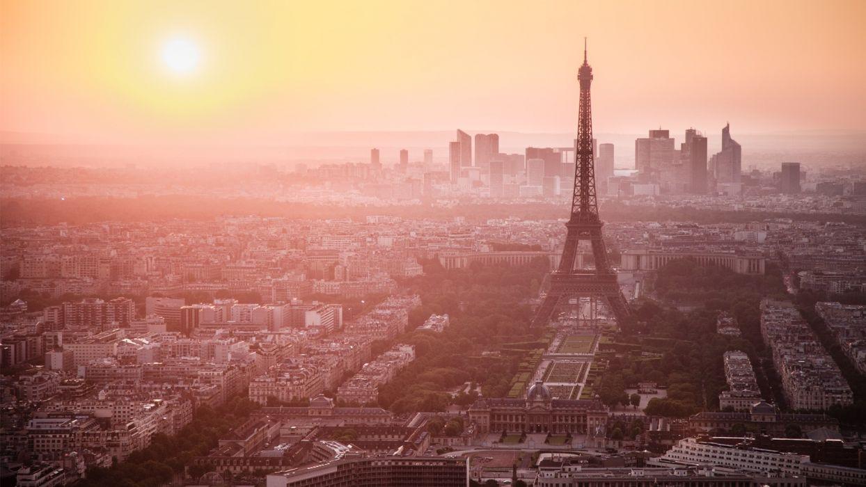Eiffel tower paris sunset cityscapes skyline buildings wallpaper
