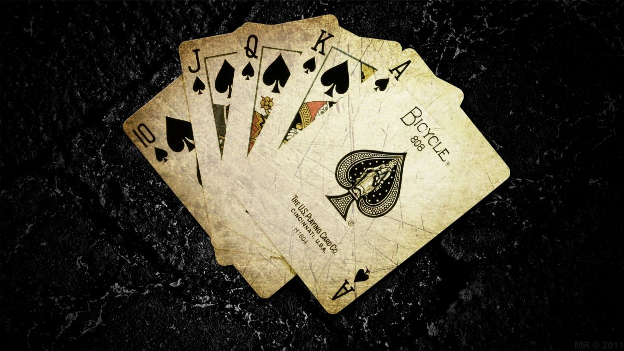 Cards poker the game digital art ace of spades card game dark background play wallpaper