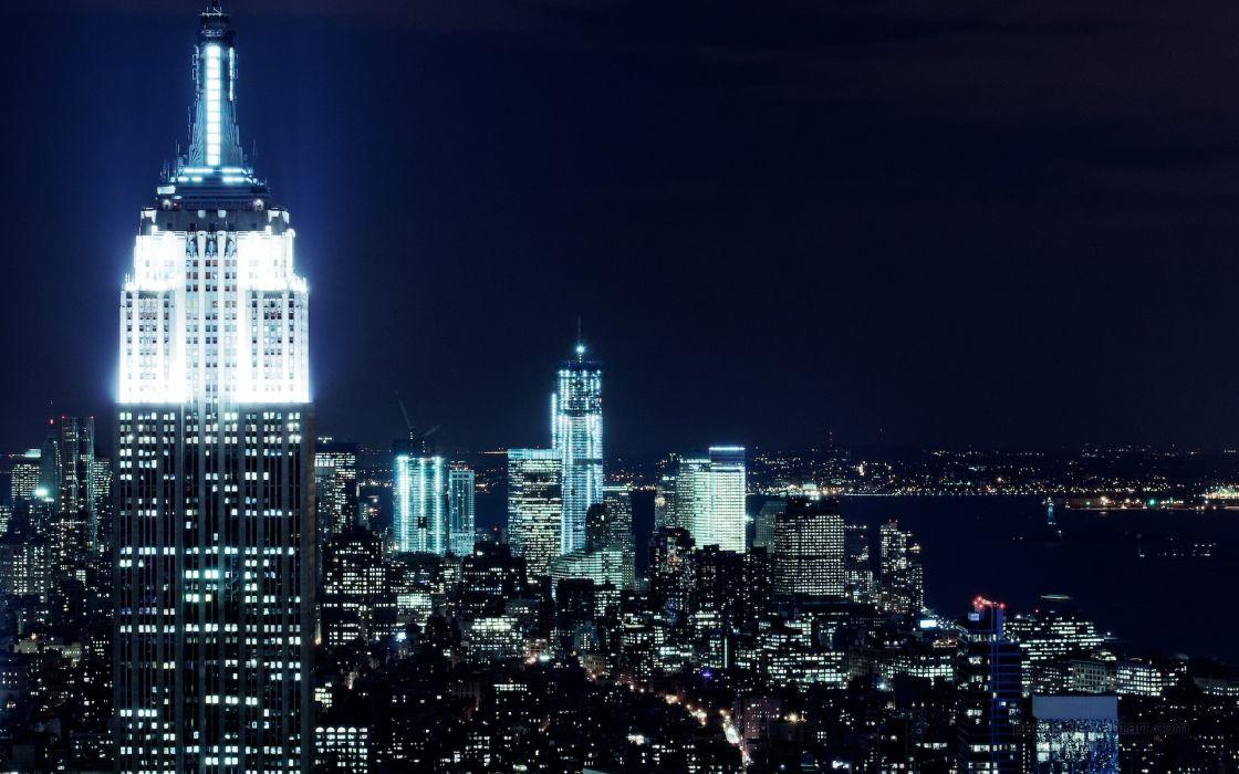 New york city nights wide wallpaper