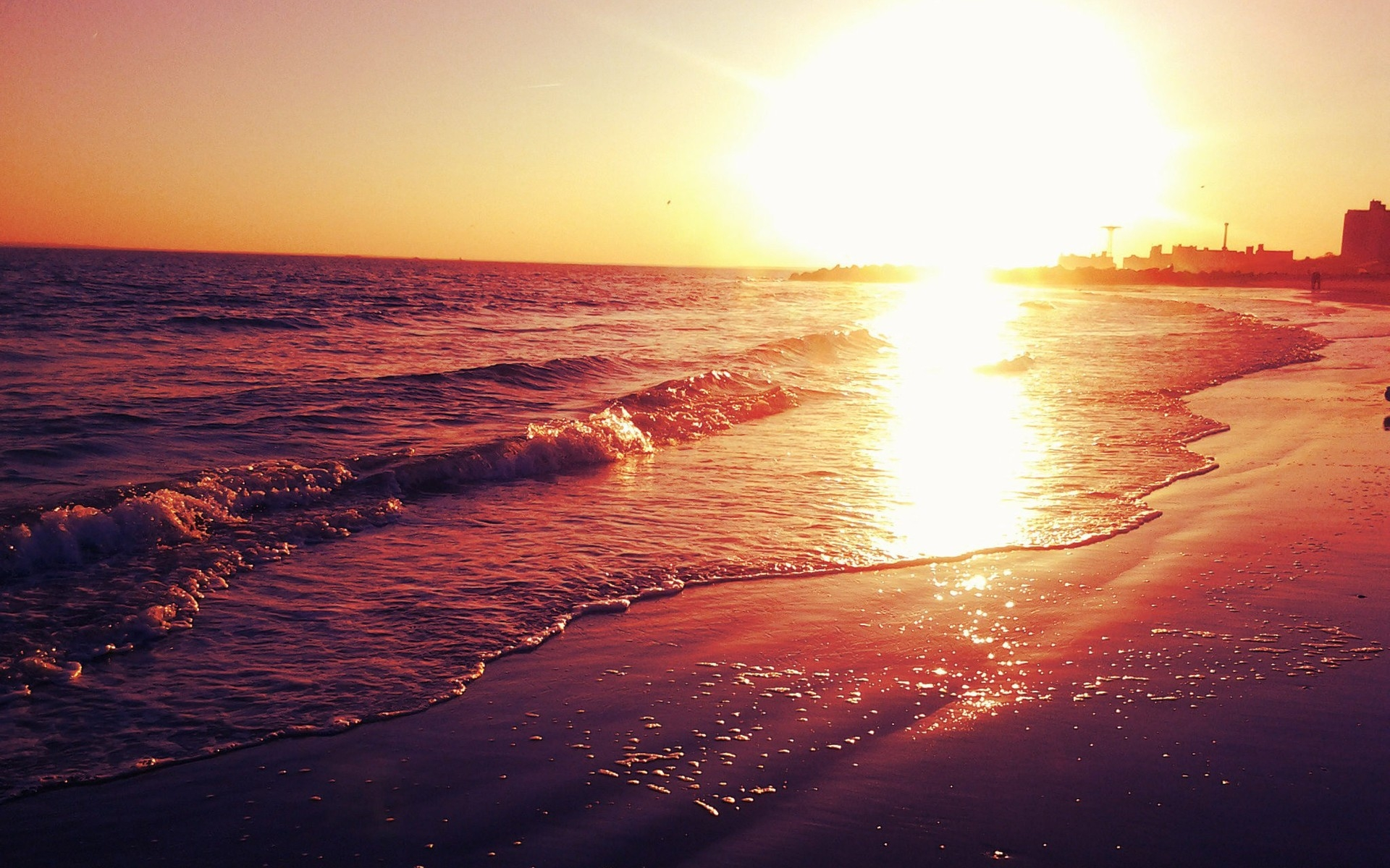 water sunsets ocean nature sun beach wallpaper 1920x1200